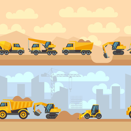 Seamless horizontal construction backgrounds with construction equipment machines cranes tractor trucks flat icons. Vector illustration Vetores