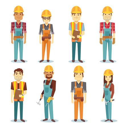 Builder Auftragnehmer Mann und weibliche Arbeiter Vektor Menschen Zeichen gesetzt. Arbeiter männlich und professionelle Ingenieur Illustration