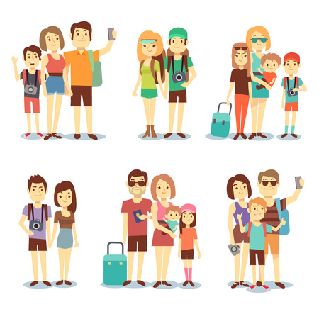 people travelling: Happy couple, family, people, tourists vector travelling cartoon characters. Family holiday journey, mother father and children illustration Illustration