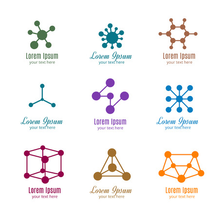 Dna and molecule vector logos for tech, medicine, science, chemistry, biotechnology. Template of logotype for pharmaceutical company illustration