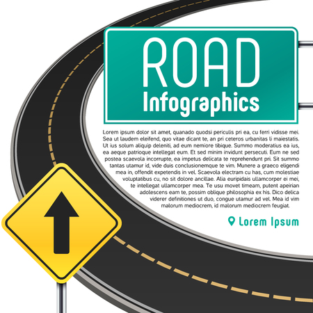 Road trip map vector infographics. Banner with information to highway illustration Illusztráció