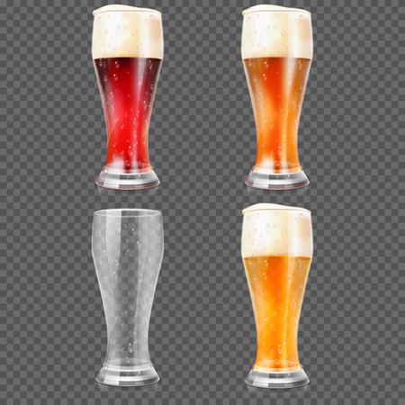 dark lager: Beer glasses with light lager beer, dark beer, amber beer and empty mug vector illustration Illustration