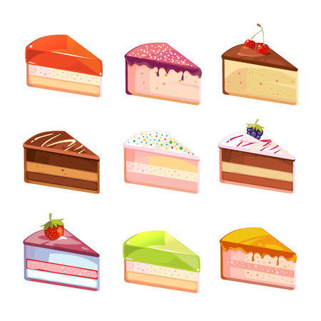 cake slice: Sweet delicious cake slices pieces vector icons. Dessert of piece, snack with chocolate cream illustration