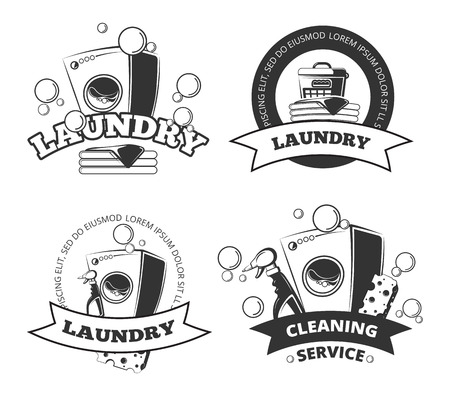 dry clean: Vintage laundry service dry clean vector labels, emblems, logos, badges set. Basket and washing machine illustration
