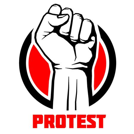 Protest, rebel vector revolution art poster background. Symbol fist for revolution and strike illustration
