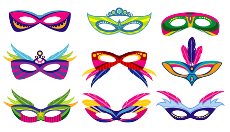 Isolated color mardi gras masks vector collection. Masquerade and carnival party illustration Illustration