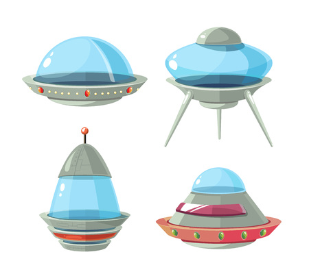 galactic: Cartoon alien spaceship, spacecrafts and ufo vector set. Cosmic ship in form saucer for transportation illustration Illustration