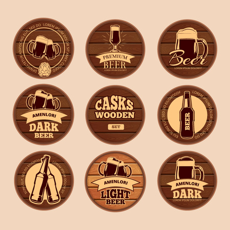 hogshead: Wooden oak barrel signboards. Retro vector circle alcohol labels for cafe, restaurant, bistro, pub, beer, wine, whiskey. Keg wood with lettering illustration