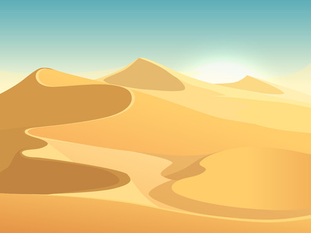 sand dunes: Desert dunes vector egyptian landscape background. Sand in nature illustration
