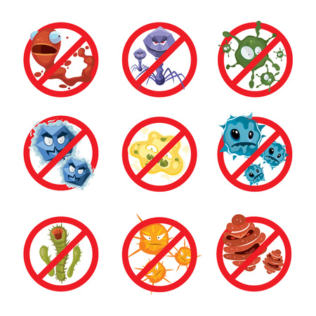 Anti bacteria and germs vector signs set. Ban bacterium and bacillus, danger microorganism illustration Illustration