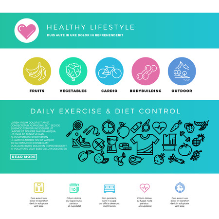 outdoor fitness: Fitness, gym, cardio, healthy lifestyle, health food, web design template with thin line icons. Bodybuilding and outdoor cardio training. Vector illustration
