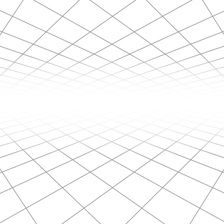 perspectiva lineal: Techo y piso de baldosas textura, líneas 3d en perspectiva la visión de vectores de fondo geométrico abstracto. Espacio del infinito de la ilustración rejilla lineal