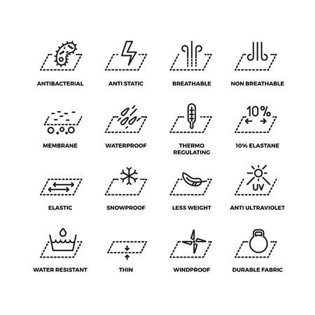 Fabric textiel eigenschappen dunne lijn vector iconen. Materiële ventilatie en waterdichtheid, ademende en sneeuwdichte afbeelding Stockfoto - 64788451