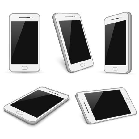 touch screen phone: Realistic white smartphone, cell phone vector mockups isolated on white background. Device with touch screen illustration Illustration