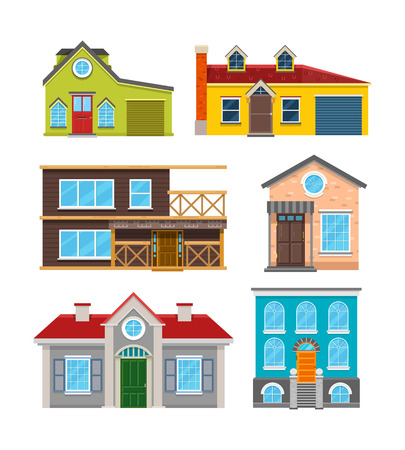 Cottage House Flat Vector Icons Architecture Building Home With Door And Window Illustration