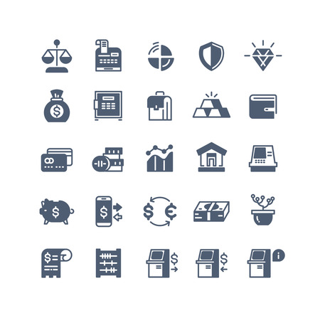 Banking finance money cash vector icons. Money and exchange currency illustration
