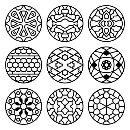 korean traditional: Korean traditional vector ancient buddhist patterns, ornaments and symbols. Tattoo oriental decorative illustration Illustration