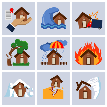 fallen tree: Natural disaster insurance, house insurance business service vector icons. Flood and fallen tree on roof illustration