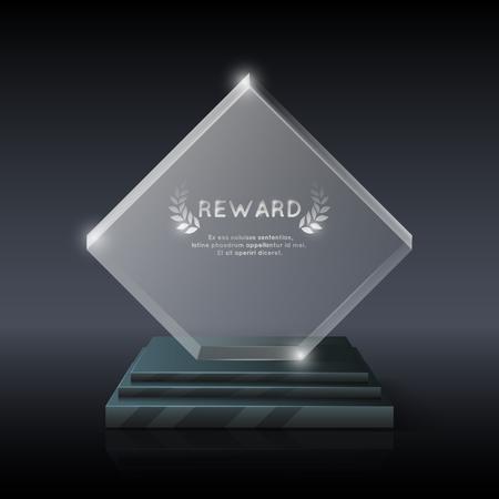 Vecteur réaliste verre de cristal prix du trophée pour le gagnant et champion illustration