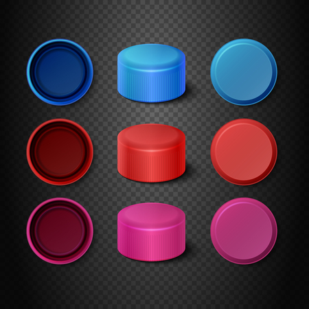 lids: Multicolored plastic bottle caps vector set. Lids mockups for closing illustration