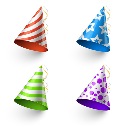 Birthday party funny hats vector photo booth templates. Color cone for holiday illustration