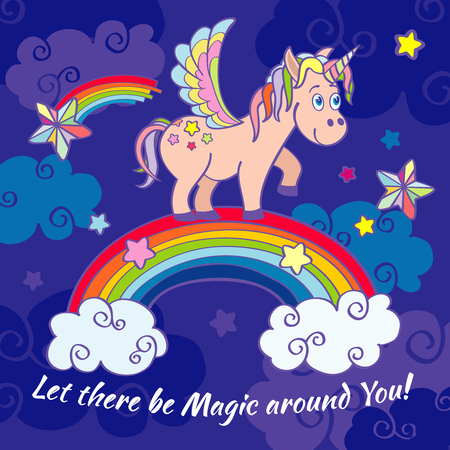 Cute unicorn and rainbow fairy vector background, poster, greeting card. Happy horse on rainbow illustration