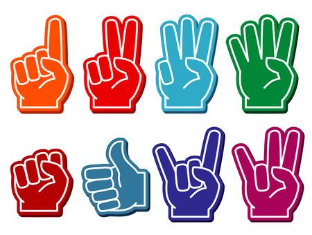 Dedos de espuma conjunto de vectores. gesto de la victoria y de recuerdo ilustración accesorio Foto de archivo - 64792116