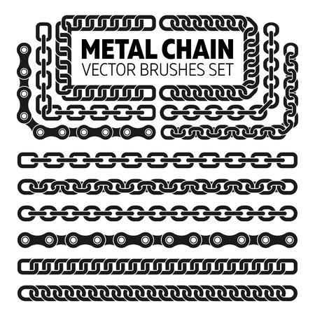 Metal chain links vector pattern brushes set. Interlink border frame illustration