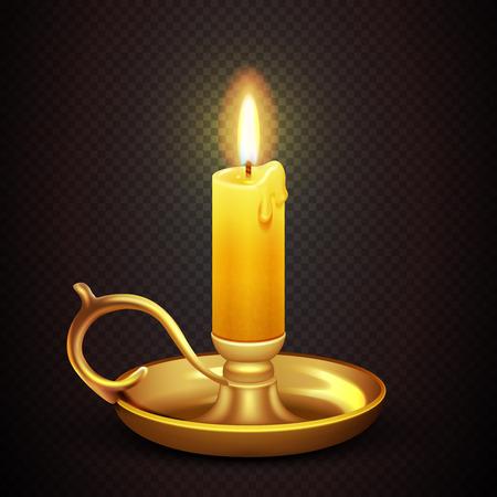 Réaliste bougie allumée romantique isolé sur plaid transparent fond illustration vectorielle. Antique candélabre en laiton avec la cire de bougie Banque d'images - 64792162