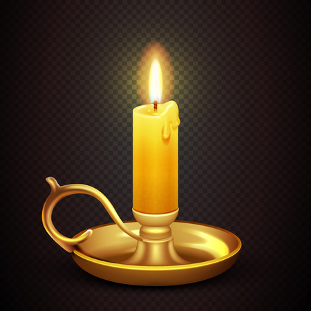 candelabra: Realistic burning romantic candle isolated on transparent plaid background vector illustration. Antique brass candelabra with wax candle