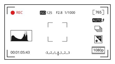 カメラのファインダーのフォーカシング スクリーンを写真カメラ制御アイコン ベクトルで表示します。ビデオと写真の図の設定でフレームを画面の  イラスト・ベクター素材