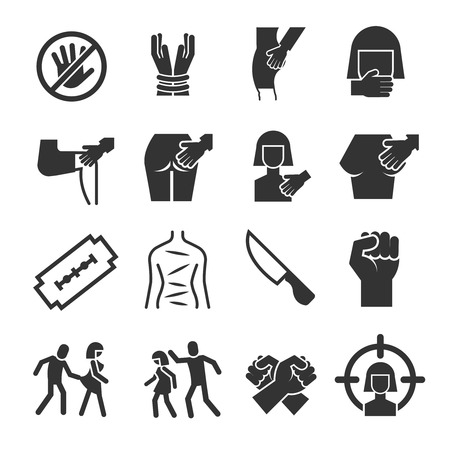 Sexual abuse, harassment, violence vector icons set. Touch knee and breast illustration