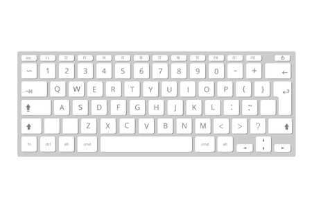 Keyboard Template | Vector White Mobile Computer Keyboard Keypad Template Of Portable