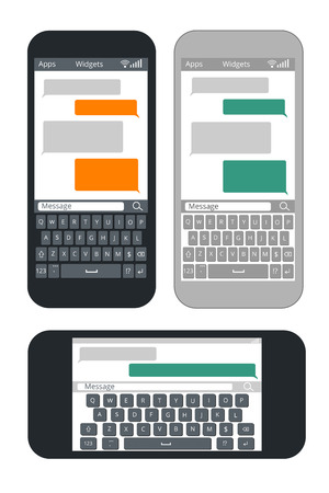 text messaging: Smartphone with blank text message bubbles and keyboard vector template. Messaging and texting use smart mobile phone illustration