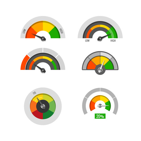 moderate: Speedometer indicators gauges low, moderate and high measurement levels vector stock. Level and rating illustration