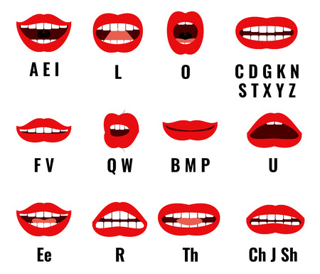 Cartoon character mouth and lips sync for sound pronunciation. Vector set animation frames. Teaching talk letters illustration