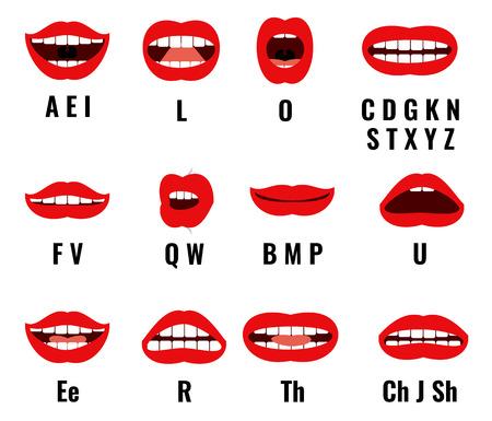 personaje de dibujos animados boca y los labios de sincronización para la pronunciación del sonido. Conjunto de vectores cuadros de animación. Enseñanza cartas de entrevistas ilustración Ilustración de vector