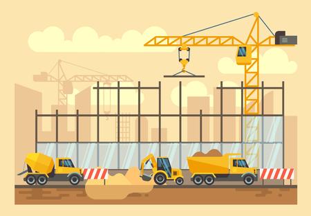 engineering tools: Building construction process, engineering tools, materials, construction equipment vector flat illustration. Bulldozer and excavator