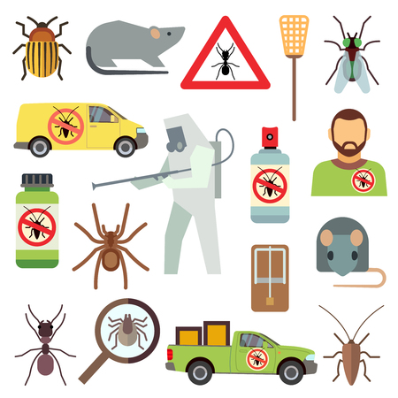 Home pest control service flat vector icons set. Protection from bug and cockroach illustration