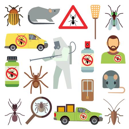 Startseite Schädlingsbekämpfung Service flachen Vektor-Icons gesetzt. Schutz vor Bug und Kakerlake Illustration