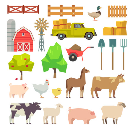 Cartoon farm elements, animals and tools, trees and agricultural machinery. Fruit and windmill, farming building illustration