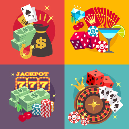blackjack: Casino gambling vector concept set with win money jackpot flat icons. Roulette and fortune in blackjack game illustration