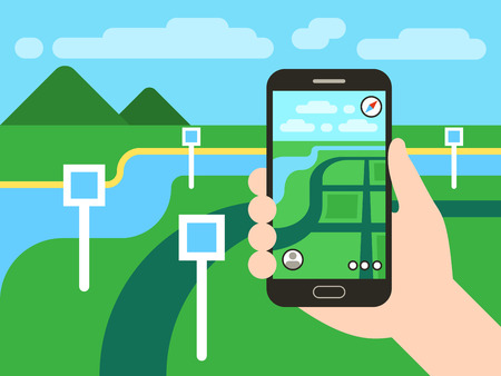 seach: Smartphone with mobile gps navigation system and map with pins. Vector app game concept. Location seach positioning illustration Illustration