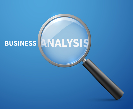 analytic: Business analysis vector concept background with magnifying glass. Research and analytic, analyze and strategy illustration Illustration
