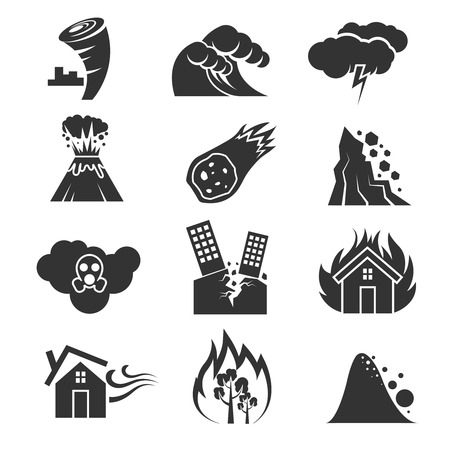 snow storm: Fire and tsunami, snow storm and tornado, hurricane and earthquake disaster vector icons. Volcano and meteorite, rockfal and poisonous cloud illustration