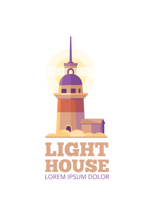 Marine lighthouse vector safety template. Beacon emblem for signal and security navigation illustration