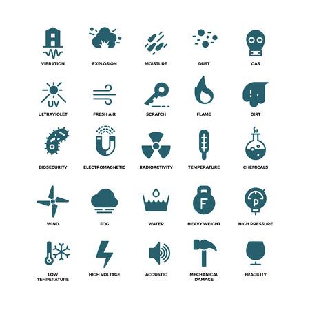 La influencia externa iconos vectoriales protección. Los daños mecánicos y ultravioleta, la fragilidad y la ilustración de la vibración