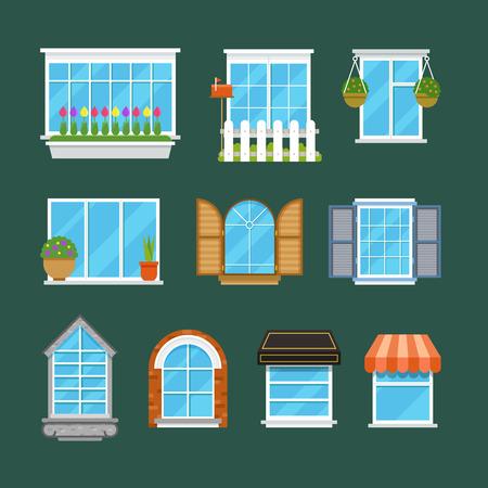 window sill: Windows with window sills curtains flowers balconies flat vector set. Variety plastic architectural windows illustration