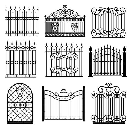 Dekorative schwarze Silhouetten von Zäunen mit Toren Vektor gesetzt. Dekoration Architektur Gitterstruktur Illustration