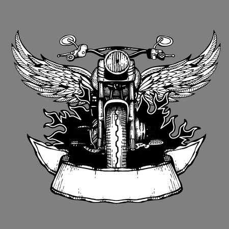 la etiqueta de la vendimia del vector del motorista, emblema con la motocicleta. Moto con alas ilustración